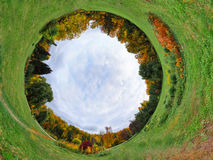 Autumn planet. Panoramic image looks like planet. Ecology and space concept stock photos