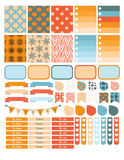 Autumn planner sticker set for a week Royalty Free Stock Photo