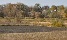 Autumn plowed open field Royalty Free Stock Photo