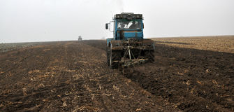Autumn plowing on ploughland_2 Stock Photos