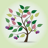 Autumn plum tree in fantasy style. Royalty Free Stock Images