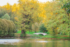 Autumn in pond, Autumn Park. Bridge in the autumn park. Horizontal photo, photo took in Tsaritsyno park,  Moscow, Russian, photo is usable on picture post card Royalty Free Stock Photos