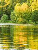 Autumn in pond, Autumn Park. Lake in the autumn park. Horizontal photo, photo took in Tsaritsyno park,  Moscow, Russian, photo is usable on picture post card Stock Photography
