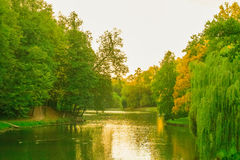 Autumn in pond, Autumn Park. Lake in the autumn park. Horizontal photo, photo took in Tsaritsyno park,  Moscow, Russian, photo is usable on picture post card Stock Images