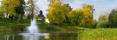 Autumn Pond Fountain 26.3MP. Picturesque scenery in a Swedish park 26.3 Megapixel Panorama. Pentax K100d 6MP DSLR www.cjsphotomagic.com Online Digital Royalty Free Stock Photos