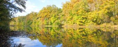 Autumn Pond Reflections Panorama Royalty Free Stock Photos