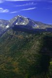 Autumn poplars, mountain valleys & ridges Stock Photo