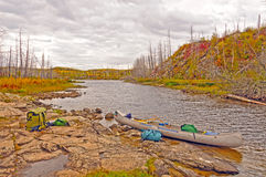 Autumn Portage ont a remote lake Royalty Free Stock Photo