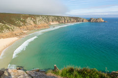 Autumn at Porthcurno beach Cornwall England UK Royalty Free Stock Photos