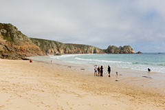 Autumn at Porthcurno beach Cornwall England UK by the Minack Theatre Royalty Free Stock Photography