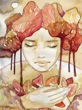 Autumn portrait. Illustration of a watercolor portrait of a beautiful woman. The original picture painted coffee stains and paints akwarelowymi Stock Photos