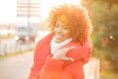 Autumn portrait of african american girl. Stock Photo
