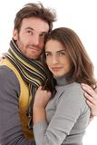 Autumn portrait of attractive loving couple royalty free stock photos