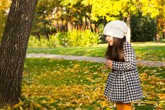 Autumn portrait of beautiful kazakh, asian child. Happy little girl with leaves in the park in fall. Autumn portrait of a beautiful child. Happy little girl Stock Photos