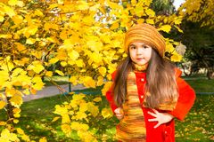 Autumn portrait of beautiful kazakh, asian child. Happy little girl with leaves in the park in fall. Royalty Free Stock Image