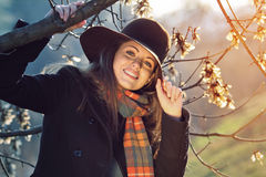 Autumn portrait of a beautiful girl with colorful scarf Stock Photo