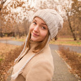Autumn portrait of a beautiful girl Stock Photography
