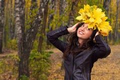 Autumn portrait of a beautiful girl. Stock Photo