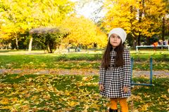 Autumn portrait of beautiful kazakh, asian child. Happy little girl with leaves in the park in fall. Autumn portrait of beautiful child. Happy little girl with Stock Photography