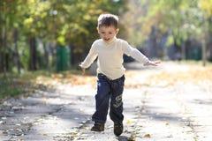 Autumn portrait of beautiful little boy Royalty Free Stock Photo