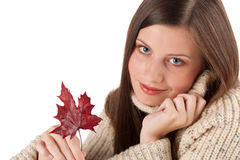 Autumn portrait of beautiful woman with leaf Royalty Free Stock Photos