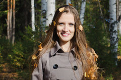 Autumn portrait of the beautiful woman Royalty Free Stock Photography