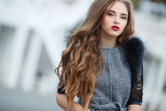 Autumn portrait of the beautiful woman Stock Photography