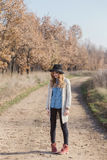 Autumn portrait of a beautiful young woman. Winter portrait of a beautiful blonde young woman Stock Images