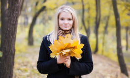 Autumn portrait of blonde girl Royalty Free Stock Photo