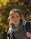 Autumn portrait of a brunette woman Royalty Free Stock Photos