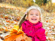 Autumn portrait of cute laughing little girl with maple leaves Stock Photos