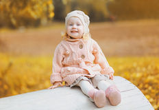 Autumn portrait cute positive child Royalty Free Stock Images