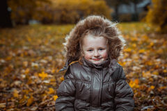 Autumn portrait of cute smiling little girl Stock Photography