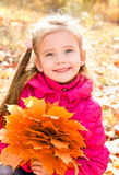 Autumn portrait of cute smiling little girl with maple leaves Royalty Free Stock Image