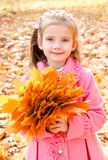 Autumn portrait of cute smiling little girl with maple leaves Royalty Free Stock Photography