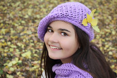 Autumn portrait of cute smiling little girl Royalty Free Stock Images