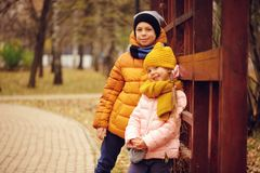 Autumn portrait of happy kids, brother and sister Royalty Free Stock Photos