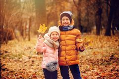 Autumn portrait of happy kids playing outdoor in park. Smiling brother and sister walking in sunny day, wearing warm knitted hats and scarfs stock photo