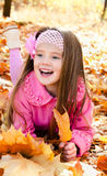 Autumn portrait of happy little girl with maple leaves Royalty Free Stock Photo