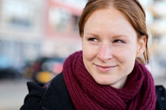 Autumn Portrait - Happy Woman in a City Stock Photography