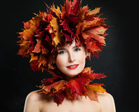 Autumn Portrait of Happy Woman with Fall Leaves stock photography