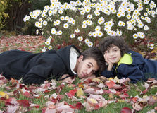 Autumn Portrait of Hispanic Children Royalty Free Stock Photography