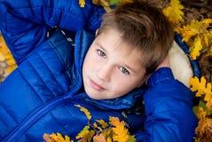 Autumn Portrait  little boy  in leaves Stock Photography