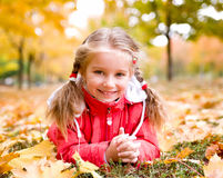 Autumn portrait of a  little girl Stock Photography