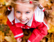 Autumn portrait of a  little girl Stock Photos