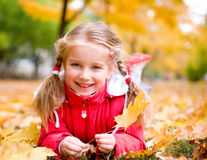 Autumn portrait of a  little girl Stock Photo