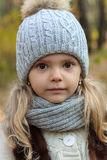 Autumn portrait of a little girl. Close-up Royalty Free Stock Photo