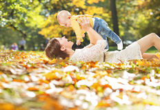 Autumn portrait of mother and child Stock Photo