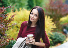 Autumn portrait of a nice girl Stock Photography