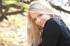 Autumn Portrait Of Blonde Girl Stock Photo